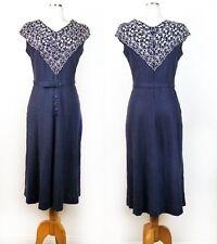 VTG 1940s Women Blue Embroidered Floral Neck Linen Dress Buttons Belt Queen Make