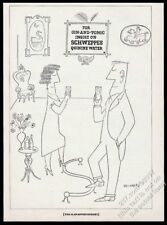 1950 Saul Steinberg couple art Schweppes Quinine Water vintage print ad