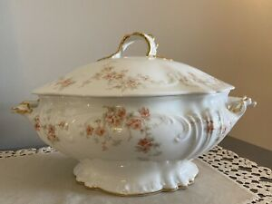 Antique Elite SM Limoges Covered Soup Tureen Serving Dish Peach Pink Flowers