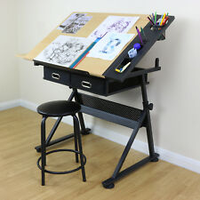 Adjustable Drawing Board Table With Stool Drafting Craft Architect Desk Stand