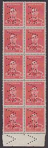 Stamps Australia 2d red KGV1 die 2 perfin VG sideways marginal block of 10, MUH