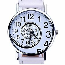Ladies Watch Silver White Time Moving Turn Spin Analogue Watches Gift Present UK