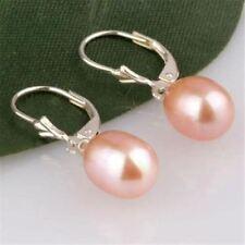 BEAUTIFUL! 8x10MM Pink Akoya Cultured Pearl Earring Silver Hook