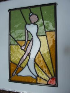 Newly crafted Leaded Stained Glass Window Panel ELEGANT LADY 305mm by 477mm
