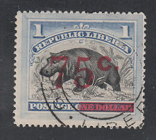 Liberia # 91 USED 1902 Red Surcharge GREENVILLE Fauna Hippo