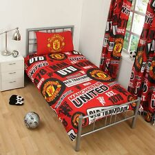 MANCHESTER UNITED FC FOOTBALL CLUB SINGLE DUVET QUILT COVER SET MAN UTD BOYS BED