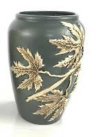 """Art Deco Decorative Blue Ceramic Raised Leaf Motif Vase 9"""" tall"""