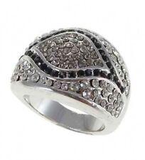 Ring Zirkonia weiß+schwarz Silber plattiert Gr. 58 o. 60