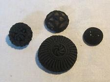 Antique Victorian black crochet button lot, 4 buttons