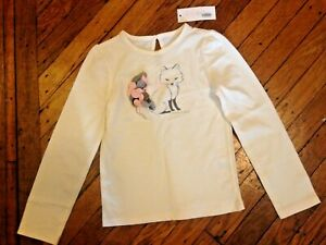 Janie And Jack Girl's Fox White Pink Grey Long Sleeve Tee Size 6