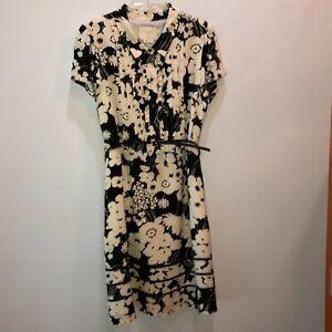 Kate Spade Womens Size 10 Black Ivory Floral Short Sleeve Belted Fit Flare Dress