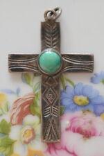 Sterling Silver Turquoise Southwestern Navajo Cross Pendant