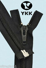 "24"" BLACK - #5 SEPARATING NYLON COIL COAT/JACKET ZIPPER 60mm/Heavy Duty/  YKK"