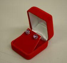 Red Velvet Earring Pendant Jewelry Gift Box Case with White Box US Seller