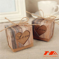 100pcs Brown  Kraft Paper Favor box Love Heart for Wedding Party Gift Candy box