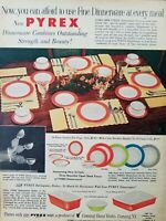 1956 Corning Pyrex Ware fine dinnerware color  dishes vintage ad