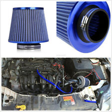 "Blue Air Filter Car Cold Air Intake Filter Cleaner 3"" 75mm Dual Funnel Adapter"