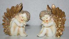 Figuren Engel sitzend 2erSet 8,2 cm hoch schlafend  Polyresin Engelsfiguren