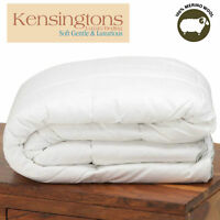 Luxury 100% Pure Natural Merino Wool Fibre Duvet Quilt Egyptian Cotton Cover