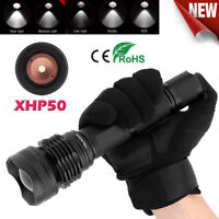 20W XHP50 LED Military Flashlight Lamp Strobe Emergency Torch Zoomable 2000LM