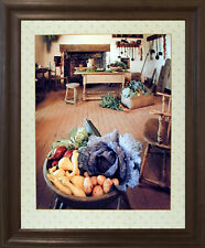 Fruits & Vegetables Still Life Wall Decor Brown Rust Framed Picture Art (19x23)