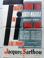 Affiche ancienne Théâtre Nikos et Marika Original vintage poster Sarthou Sibia