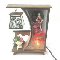 Vintage Kitsch Japanese 3-D Lighted Scene with additional scene