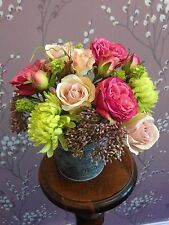 Fleurs de soie artificielle arrangement roses rose crème gros godet shabby chic
