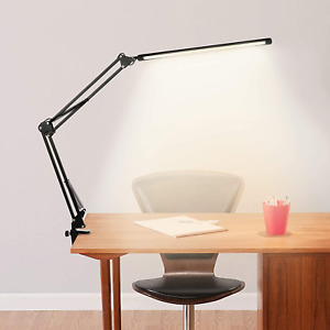 Tomshine LED Desk Lamp with Clamp 12W Eye-Caring Dimmable Reading Light Swing