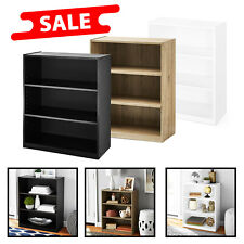 "31"" Tall 3 Shelf Wood Bookcase Closed Back Storage Shelves Book Case Bookshelf"
