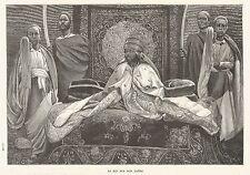 B7268 Re Menelik II sul suo Trono - Incisione antica del 1888 - Engraving