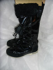 GEOX RESPIRA WOMEN'S BLACK PATENT LEATHER/SUEDE LACE UP BOOT SIZE UK 4 EU 37