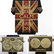 Vintage Poster Bilder Retro Druck Keep Calm historische Weltkarte Mondkarte