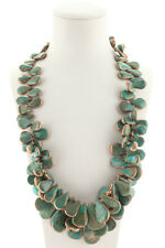 Rarities Sterling Silver Green Turquoise Petal Statement Necklace New $900
