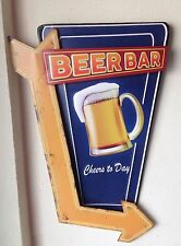 3D Blechschild 45x30cm Beer Bar - Cheers today - shabby Stile-Kneipe DINER Pub