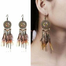 Women Feather Chain Tassel Earrings Boho Long Hollow Flower Dangle Ear Hook NEW