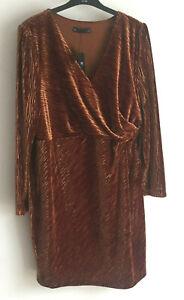 M&S Collection Size 20 22 Copper Velvet Knee Length Dress rrp £45