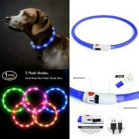 SILICONE SIZE-ABLE RECHARGEABLE DOT LED PET GLOW TUBE COLLAR dog cat flash light