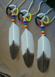 Medicine wheel with beaded Rainbow feather set of 3