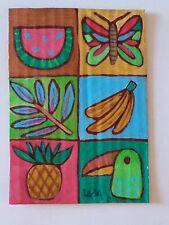 ORIGINAL ACEO Folk Art Botanical Tropical Bird Fruit Bug Insect ButterflyFlower