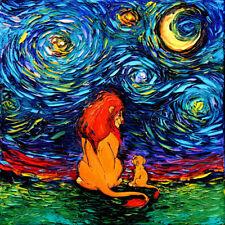 Wall Art Print Lion King Starry Night van Gogh Never Saw The Sahara Decor by Aja