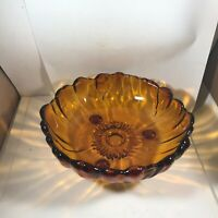 """Vintage Indiana Glass Amber Footed 11"""" Sunflower Bowl"""