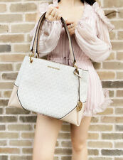 Michael Kors Nicole Large Shoulder Tote Vanilla Signature MK Ballet Pink Handbag