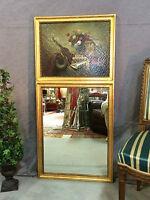 Glace / trumeau de style Louis XVI avec peinture sur bois Hauteur 117 cmT