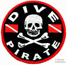 DIVE PIRATE iron-on PATCH SCUBA DIVING skull crossbones EMBROIDERED EMBLEM