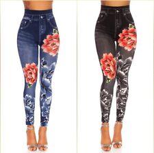 Leggings da Donna Aspetto Jeans Forma High Cintola Jeggings con Stampa E Strass