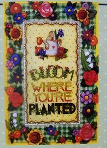 "New & Sealed Mary Engelbreit Mini Decorative Flag ""Bloom Where Planted"" (12x18"")"