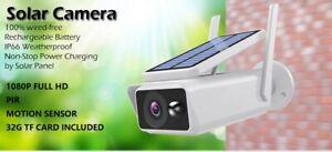 Wireless Solar Powered Security Camera Waterproof 1080P CCTV Surveillance 32g TF