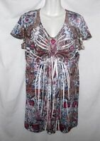 WOMEN'S STYLE & CO EMBELLISHED FLORAL PAISLEY SHORT SLEEVE TOP SIZE M