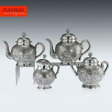 ANTIQUE 19thC CHINESE EXCEPTIONAL SOLID SILVER TEA SERVICE, HONG KONG c.1890
